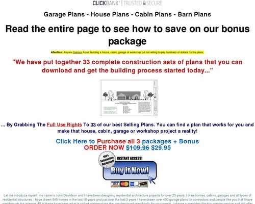 Garage, House, Cabin, Shed, Playhouse, Greenhouse & Barn Plans